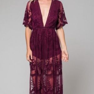 🍷 Wine Red Deep V Lace Romper Dress